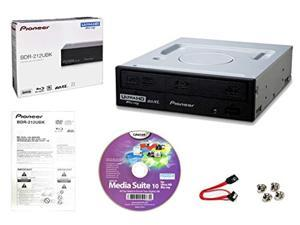 Pioneer BDR-212UBK Internal 16x Blu-ray Writer Drive Bundle with Cyberlink Burning Software, SATA Cable and Mounting Screws - Burns CD DVD BD DL BDXL Discs