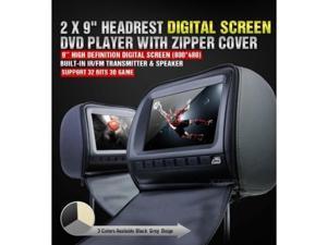 "XTRONS Black 2x Twin Car Headrest DVD Player 9"" HD Screen USB Sd Slot Game IR Headsets"