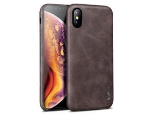 Case Compatible iPhone Xs MAX,X-Level [Vintage Series] Premium PU Leather Slim Fit Ultra Light Soft Touch Protective Mobile Cell Phone Case Back Cover Compatible Apple iPhone Xs MAX(2018)-Coffee