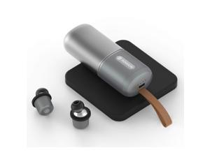 Rowkin Ascent Charge+ True Wireless Earbuds Headphones: 50+ Hours Bluetooth 5 Smallest Earphones & Qi Charging Case. Deep Bass Headset, Mic & Noise Reduction for Android Samsung & iPhone (Slate Gray)