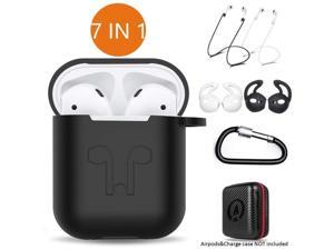 AirPods Case 7 in 1 Airpods Accessories Kits Protective Silicone Cover and Skin for Apple Airpods Charging Case with Airpods Ear Hook Grips/Airpods Staps/Airpods Clips/Skin/Tips/Grips Black Operatek