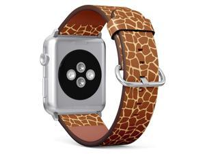 Compatible with Apple iWatch Series 1/2/3/4 (38mm & 40mm), Replacement Leather Bracelet Wristband Strap [ Giraffe ]