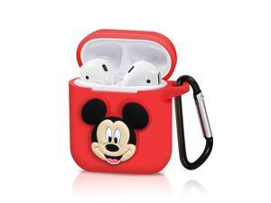 Pocoolo Airpods Case Airpods Accessories Protective Silicone Cover and Skin with Carabiner for Apple Airpods Charging Case (Mickey)