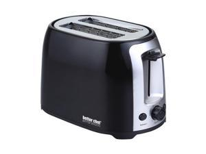 Better Chef - 2-Slice Extra-Wide-Slot Toaster - Black with stainless steel accents