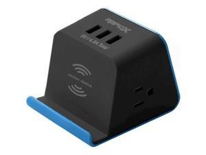 MyDesktop 2-Outlet/3-USB Surge Protector with Wireless Charging - Blue