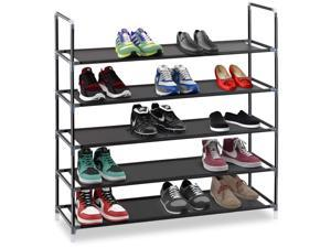 """Halter 5 Tier Stackable Shoe Rack Storage Shelves - Stainless Steel Frame Holds 25 Pairs of Shoes - 35.75"""" x 11.125"""" x 34.25"""" - Black"""