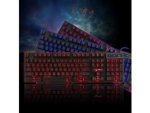 R8 USB Wired Gaming Keyboard Floating LED 3 color Backlit Keyboard with Similar Mechanical Feel