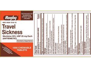 Rugby Travel Sickness Chewable Tablets, 25mg, 1000ct