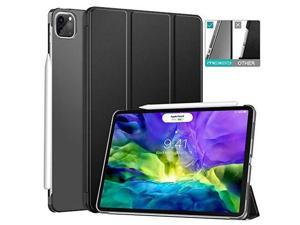 """MoKo Case Fit iPad Pro 11 2nd Gen 2020 & 2018 [Support Apple Pencil Charging] Slim Lightweight Translucent Shell Protective Smart Cover Case Fit iPad Pro 11"""" 2020/2018 - Black (Auto Wake/Sleep)"""