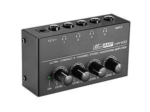 Neewer Super Compact 4-Channel Stereo Headphone Amplifier with DC 12V Power Adapter for Sound Reinforcement, Studio, Stage, Choir, Personal Recording, Features Ultra Low Noise, Premium Sonic Quality