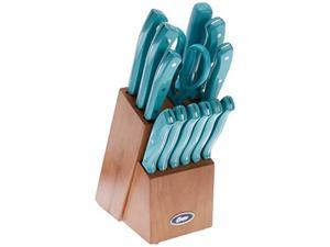 Oster Evansville 14 Piece Cutlery Set, Stainless Steel with Turquoise Handles -