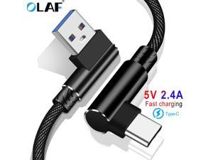 OLAF USB Type-C 90 Fast Charging usb c cable Type-C Data Cord Android Charger usb c USB Cable For Samsung S8 S9 S10 Note 8 (1pcs)