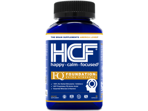 HCF Happy, Calm & Focused | FQ Foundation Extra Strength | 100% No Herbal Stimulants / Inhibitors | Free of 8 Major Allergens | Trusted 10+ Years | Brain Supplement (90 Veggie Capsules)