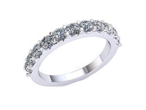 1.10 Ct Round Diamond Scalloped Shared Prong Wedding Band Women's Anniversary Ring 10k White Gold G-H SI1