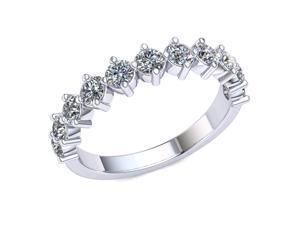 1.30 Ct Round Diamond Vertical Prong Wedding Band Women's Anniversary Ring 10k White Gold J-K I1