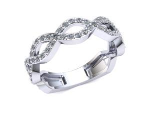 0.70 Ct Round Diamond Woven Infinity Wedding Ring Women's Eternity Band with Sizing Bar 10k White Gold G-H SI1
