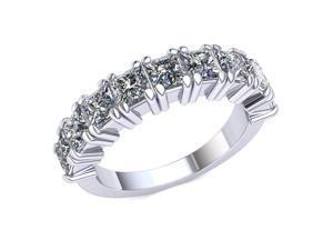 2.20 Ct Princess Diamond Individual Prong Wedding Band Women's Anniversary Ring 10k White Gold G-H I1-I2