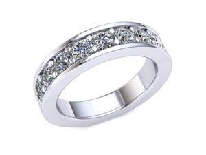 1.40 Ct Round Diamond Channel Prong Wedding Band Women's Anniversary Ring 14k White Gold G-H I1