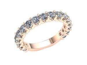 1.70 Ct Round Diamond 2 Row Shared 'U' Prong Eternity Band with Sizing Bar Women's Anniversary Ring 10k Rose Gold G-H SI1