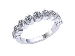 0.70 Ct Round Diamond Milligrain Bezel Set Wedding Ring Women's Anniversary Band 18k White Gold H SI2