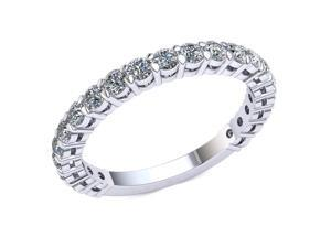 1.20 Ct Round Diamond Shared Prong With Gallery Wedding Band Women's Eternity Ring with Sizing Bar 14k White Gold G-H I1