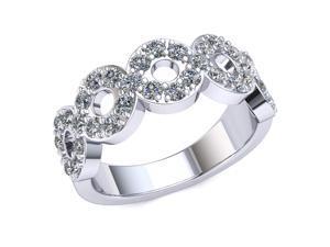 1.40 Ct Round Diamond 'O' Pattern Prong Set Anniversary Ring Women's Wedding Band 10k White Gold G-H SI1