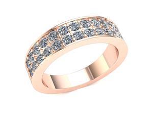 1.30 Ct Round Diamond 2 Row Prong Wedding Band Women's Anniversary Ring 14k Rose Gold G-H SI2