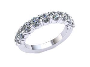 2.20 Ct Round Diamond Shared Prong 'U' Gallery Wedding Ring Women's Anniversary Band 10k White Gold H SI2