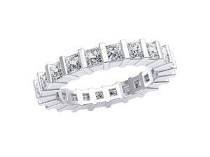 2.20 Ct Princess Cut Natural Diamond Bar Set Women's Eternity Band Ring Set in 10k White Gold GH I1-I2