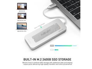 MINIX S2, USB-C hub/adapter with 240GB SSD storage,HDMI [4K @ 30Hz], 2 x USB 3.0 and USB-C for Power Delivery. Gray/Silver