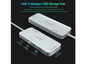 MINIX usb-c all in one adapter , Aluminium USB-C Multiport SSD Storage Hub, Combine 120GB M.2 SSD Storage with HDMI [4K @ 30Hz], 2 x USB 3.0 and USB-C for Power Delivery, Gray/Silver