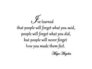VWAQ I've Learned That People Will Forget What You've Said Maya Angelou Vinyl Wall Art Quote Decal Lettering