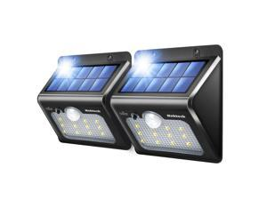 Solar Lights,Nekteck 12 LED Outdoor Solar Wall Light with Motion Sensor Detector for Garden Back Door Step Stair Fence Deck Yard Driveway Walkways Landscaping Security - 2 Pack, Warm White