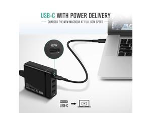 [USB-IF Certified] USB C Charger, Nekteck 4-port 72W USB Wall Charger with Type-C 60W Power Delivery PD Charger Station for 2017 MacBook Pro, Pixel 2/ Pixel/ Pixel XL Galaxy Note 8/ S8/ S8 Plus, Black