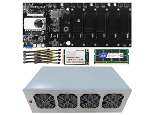 BTC T37 Mining Rig, 8 GPU Complete Miner Rig, Mining Machine System for Crypto Coin Currency Mining, GPU Miner Including Motherboard (Without GPU) Case with Cooling Fans,Barebones