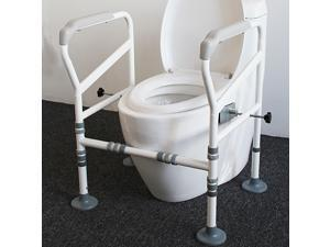 KerLiTar A02G Foldable&Free-Assembly Toilet Safety Frame for Elderly with Adjustable Height, 330 Ib Heavy Bathroom Toilet Safety Rail for Disable with Upgrade Large Non-Slip Mat, Fit All Toilets
