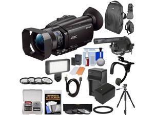Sony FDR-AX700 4K Camcorder w/ Microphone Kit | LED Light | Spare Battery & More Mega Bundle