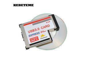 KEBETEME USB 3.0 PCI Express Card Adapter 5Gbps Dual 2 Ports HUB PCI 54mm Slot ExpressCard PCMCIA Converter For Laptop Notebook