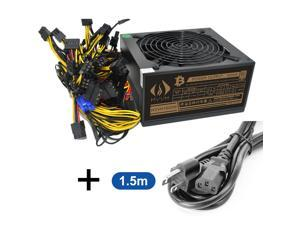 HVVH 20+4 Pin Silent Noise Reduction Dig BTC Miner ATX 1600W Power Supply 90 Plus Gold Designed for US Input Voltage110V 1600w with 1.5m US Plug Adapter Cable
