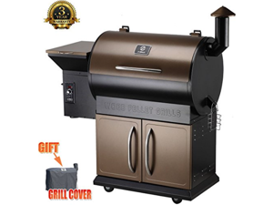 Zgrills ZPG-700D Wood Pellet BBQ Grill & Smoker with Patio Cover,700 Cooking Area 8 in 1-Grill, Smoke, Bake, Roast, Braise, BBQ or Char-grill with Electric Digital Controls & storage cabinet(Bronze).