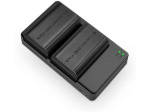 Canon LP-E6N Dual Pack Battery Charger Power Adapter OEM Quality Made EOS 60D 70D 80D 5D Mark II III and IV 5DS 5DS R 6D 7D 2000mAH