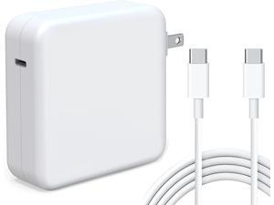 96W USB C Power Adapter, Compatible with MacBook Pro Charger 13 15 16 inch 2020 2019 2018 Works with USB C 96W 87W PD Power Charger, Included USB-C to USB-C Charge Cable (6.6ft/2m)