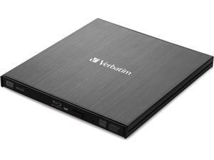 Verbatim External Slimline Portable USB 3.0 BD/DVD/CD Writer with M-DISC Support for PC and Mac, Metallic Black