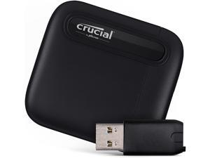 Crucial X6 2TB Portable SSD – Up to 540MB/s – USB 3.2 – USB-C - CT2000X6SSD9 + USB-C to USB-A Adapter - CTUSBCFUSBAMAD