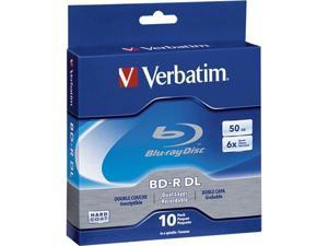 Verbatim 50GB 6X BD-R DL 10 Packs Spindle Disc Model 97335