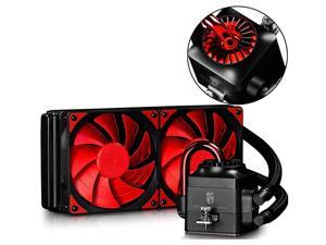 DEEPCOOL Gamer Storm Captain 240 AIO Liquid CPU Cooler, 240mm Radiator, Dual 120mm Red PWM Fans, AM4 Compatible, 3-Year Warranty