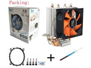 2 Heatpipe Aluminium PC CPU Cooler Cooling Fan For Intel 775/1150/1155/1156/115x AMD 754/AM2-PC Friend Set included Thermal Grease