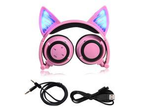Foldable Cosplay Cat Ear Bluetooth Headphone Wireless Wire Universal Stereo Headset LED Light Flashing Earphone With Mic