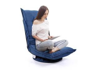 Adjustable 5-Position Floor Chair Fabric Folded 360 Rotation Swivel Video Rocker Gaming Sofa Chair Angle Chair Blue