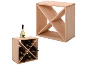 24 Bottle Wine Rack Holder Compact Cellar Cube Bar Storage Kitchen Decor Wood Display Home,Natural